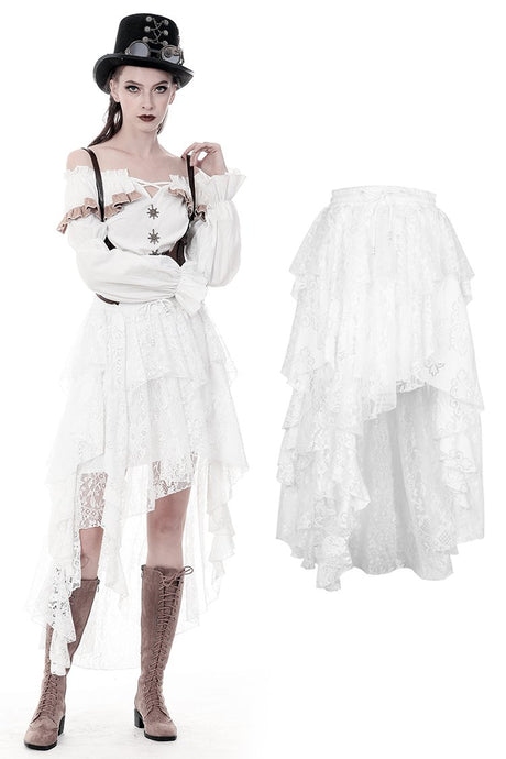 Punk Whiteite irregular lace cocktail skirt KW159 - Gothlolibeauty