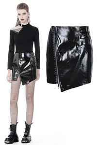 Punk shinning irregular PU short skirt KW160 - Gothlolibeauty