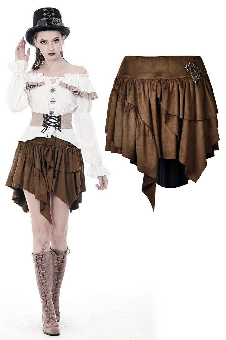 Steampunk irregular short skirt KW163 - Gothlolibeauty