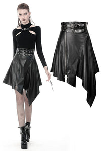 Punk PU leather zippered irregular midi skirt KW164 - Gothlolibeauty