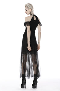 Punk tasseled mesh see-through long skirt KW167 - Gothlolibeauty