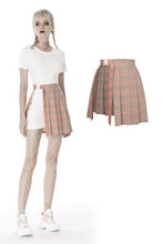 Load image into Gallery viewer, Pink checked hollow out pleated short skirt KW171 - Gothlolibeauty