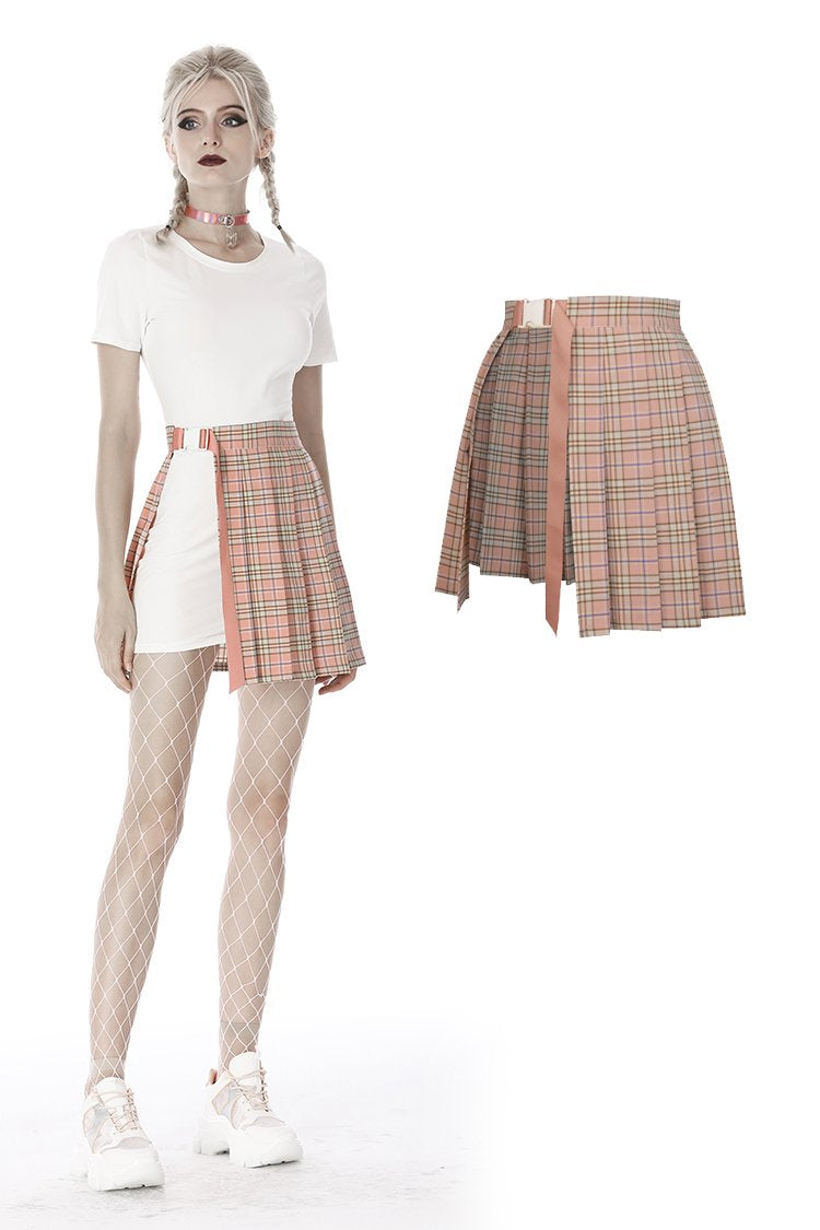 Pink checked hollow out pleated short skirt KW171 - Gothlolibeauty