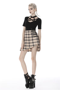 Punk checked asymmetrical pleated short skirt KW173 - Gothlolibeauty