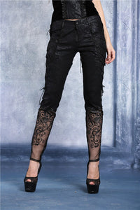 Transparent embroidered plum pattern leather pants PW072 - Gothlolibeauty