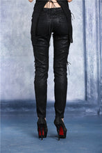 Load image into Gallery viewer, Transparent embroidered plum pattern leather pants PW072 - Gothlolibeauty