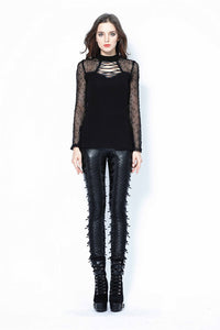 Punk grid flower artificial leather legging pants PW075 - Gothlolibeauty