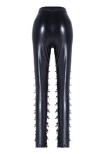 Load image into Gallery viewer, Punk grid flower artificial leather legging pants PW075 - Gothlolibeauty