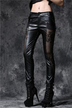 Load image into Gallery viewer, PW076 Gothic punk leather pants with lace and elegant curve segmentation - Gothlolibeauty