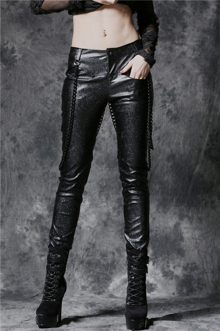 PW077 Punk embossed leather pants with detachable iron chain - Gothlolibeauty