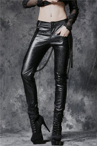 Punk embossed leather pants with detachable iron chain PW077 - Gothlolibeauty