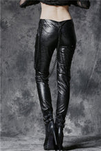 Load image into Gallery viewer, Punk embossed leather pants with detachable iron chain PW077 - Gothlolibeauty