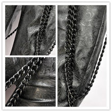 Load image into Gallery viewer, PW077 Punk embossed leather pants with detachable iron chain - Gothlolibeauty