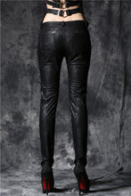 Load image into Gallery viewer, Gothic embossed lace leather pants with sexy flower and cords PW078 - Gothlolibeauty