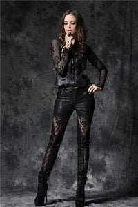 Gothic embossed lace leather pants with sexy flower and cords PW078 - Gothlolibeauty