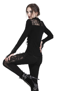 Gothic Black brocade mesh side trousers PW083 - Gothlolibeauty