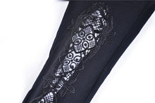 Load image into Gallery viewer, Women gothic leggings with flower and back lace up PW094 - Gothlolibeauty
