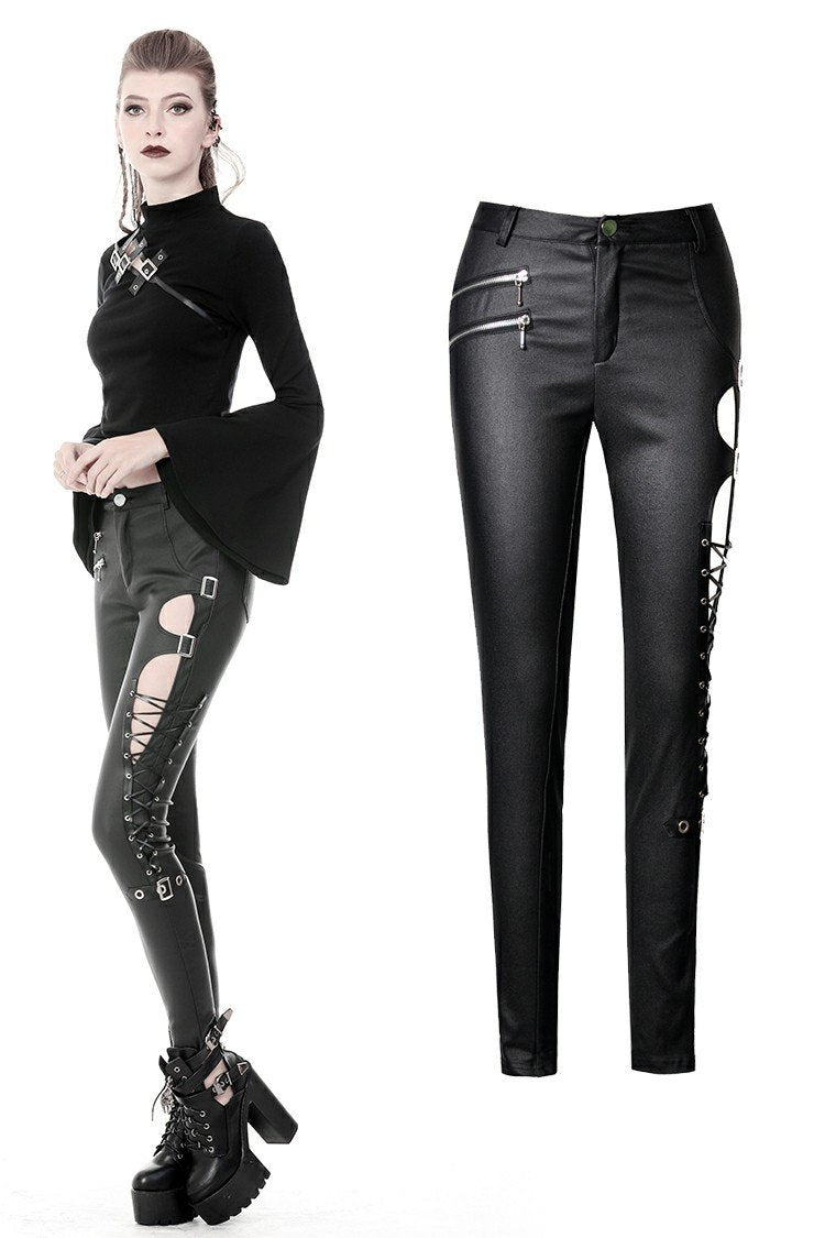 Punk sexy hollow thigh asymmetrical PU trousers PW096 - Gothlolibeauty