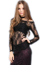 Load image into Gallery viewer, TW063 Gothic summer Sexy lace off Shoulder long sleeve Tee/T-shirt