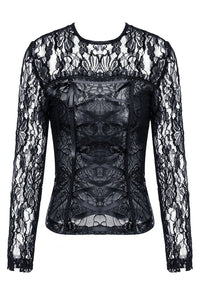 Gothic corset-look T-shirt with jacquard hollow out sexy lace TW101 - Gothlolibeauty