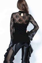 Load image into Gallery viewer, TW102 Gothic lace sleeve sexy T-shirt - Gothlolibeauty