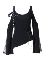 Load image into Gallery viewer, Punk asymmetric corn off-shoulder T-shirt TW107 - Gothlolibeauty
