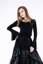 Load image into Gallery viewer, TW147 Gothic knitted T-shirt with hook flower on back - Gothlolibeauty
