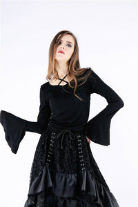 TW147 Gothic knitted T-shirt with hook flower on back - Gothlolibeauty