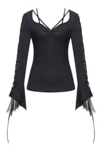 Load image into Gallery viewer, TW148 Gothic T-shirt with half mesh sexy sleeves