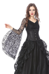 TW150 Gothic lace T-shirt with big sleeves - Gothlolibeauty