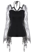 Load image into Gallery viewer, TW152 Gothic characteristic neck T-shirt with spider bat sleeves - Gothlolibeauty