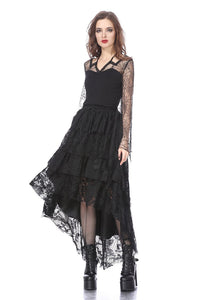 TW152 Gothic characteristic neck T-shirt with spider bat sleeves - Gothlolibeauty