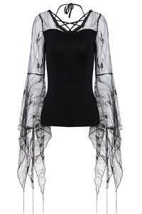 Gothic T-shirt with transparent flower big sleeves TW153 - Gothlolibeauty