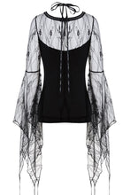 Load image into Gallery viewer, TW153 Gothic T-shirt with transparent flower big sleeves - Gothlolibeauty