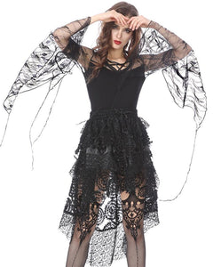 TW153 Gothic T-shirt with transparent flower big sleeves - Gothlolibeauty