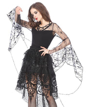 Load image into Gallery viewer, Gothic T-shirt with transparent flower big sleeves TW153 - Gothlolibeauty