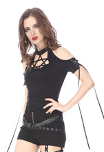 Load image into Gallery viewer, Black Gothic Punk star T-shirt Off-the-Shoulder TW154 - Gothlolibeauty
