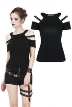 Load image into Gallery viewer, TW158 Punk T-shirt with bound shoulder hollow-out design