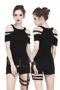 Summer women Punk short sleeves T-shirt with bound shoulder hollow-out design TW158 - Gothlolibeauty