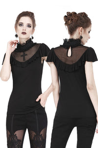 Gothic cross mysterious short-sleeved T-shirt TW161 - Gothlolibeauty