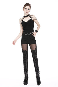 Punk short sleeveless T-shirt with string shoulder and eyelet on waist TW164 - Gothlolibeauty
