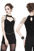 Load image into Gallery viewer, Punk short sleeveless T-shirt with string shoulder and eyelet on waist TW164 - Gothlolibeauty
