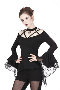 Gothic punk T-shirt with hollow-out and star theme on top TW165 - Gothlolibeauty