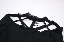 Load image into Gallery viewer, Gothic punk T-shirt with hollow-out and star theme on top TW165 - Gothlolibeauty