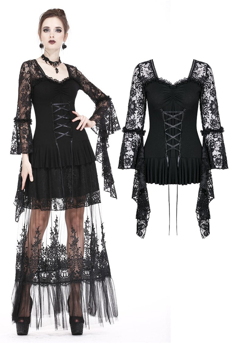 Gothic lace T-shirt with drooping flouncing sleeves TW166 - Gothlolibeauty