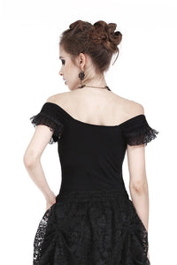 Gothic knitted T-shirt with crumpled swallow shape shoulder TW167 - Gothlolibeauty