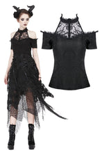 Load image into Gallery viewer, Gothic off-the-shoulder patterned T-shirt with lace and button row on top TW168 - Gothlolibeauty