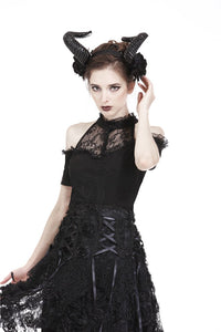 Gothic off-the-shoulder patterned T-shirt with lace and button row on top TW168 - Gothlolibeauty