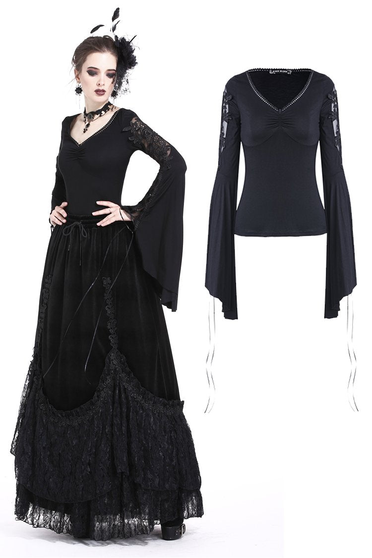 Sexy gothic fhower hollow and lace-up sleeves T-shirt TW171 - Gothlolibeauty