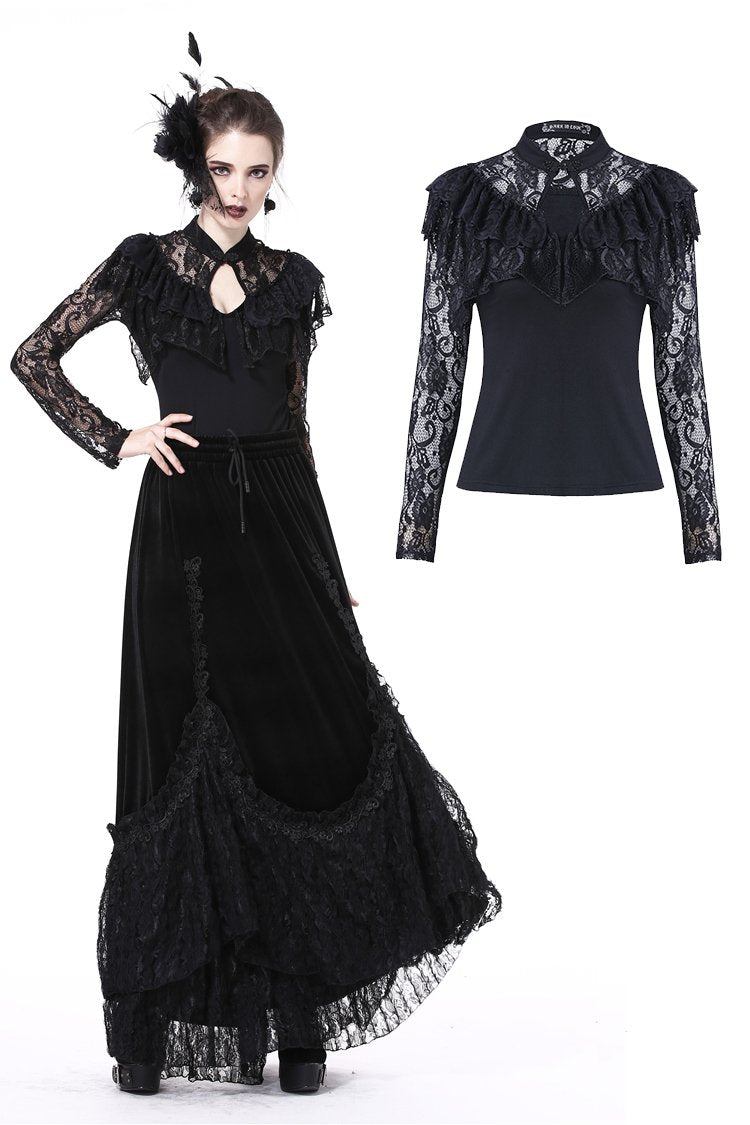 Gothic sexy lace hollow T-shirt TW173 - Gothlolibeauty